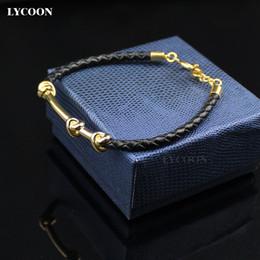 Wholesale Wrist Cuffs Bracelets - HOT SALES titanium steel knot cuff bangles stainless polished genuine leather cuff bracelet for men luxury classical design wrist bangle
