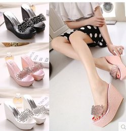 Wholesale Cloth Slippers - Wholesale New Arrival Hot Sale Specials Super Influx Stars Knight Noble Transparent Peep Toe Sequins Diamond Wedges Slippers EU34-39