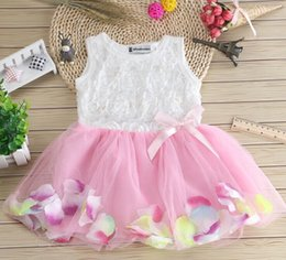 Wholesale Crochet Tulle Tutu Dress - Sleeveless Girls Princess Dress Children Floral Printed Lace Suspender Tulle Dress Kids Lace Crochet Dress Girls Backless Party Dess
