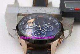 Wholesale Double Tourbillon - Luxury Brand Black Dial Limited Mikro Tourbillon Mens Double Zone Car5A51 New Stopwatch Mens stainless steet Watches Wristwatch
