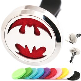 bats cars 2018 - Silver Jewelry Bat 30mm Diffuser 316 Stainless Steel Car Aroma Locket Essential Oil Car Diffuser Lockets Free Pads