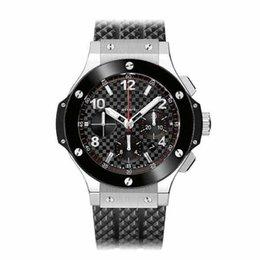 Wholesale Mm Ceramics - Famous Brand Soft Rubber Strap Sport Men's Watches High Quality Ceramic Bezel Fashion Quartz Chronograph Wristwatches