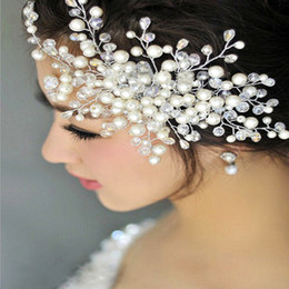 Wholesale Crystal Headbands For Flower Girls - Sparkly Crystals Pearls Bridal Tiaras Wedding Hair Accessories with Comb Bridal Jewelry Hair Accessories for Girls Headband Hair Flower