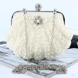 Bolso de perlas de marfil online-Hermoso con cuentas marfil blanco perlas nupciales bolsos bolso de la boda Champagne Pearl en bolsos de la muchacha de las mujeres del banquete de noche del partido bolso de embrague del baile de fin de curso