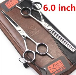 Wholesale Barber Inch Shears - Wholesale- Kasho 5.5 or 6 Inch High Quality Professional Hair Scissors Hairdressing Tools Barber Hair Cutting Shears Set For Haircut Salon