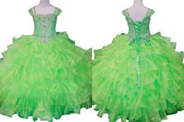 Wholesale Children Dance Images - 2017 Off Shoulder Spring Green Little Girls Pageant Dresses Rhinestones Flower Girl Gowns Beads Luxury Kids Children Prom Party Ball Dance