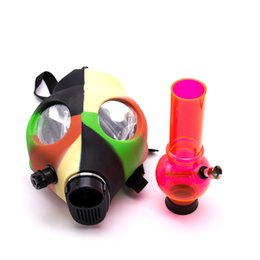 Wholesale tabacco bongs - Silicone gas mask water bongs Filter Acrylic Smoking Pipes Gas Mask Pipes Acrylic Bongs Tabacco Shisha Pipe water pipe Free Shipping