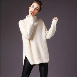 Wholesale Open Sweater For Women - Wholesale-New 2016 Women Mink Cashmere Turtleneck Sweater Fashion Winter Open Slit Mink Cashmere Pullovers Sweaters For Women