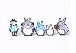 Wholesale Totoro Pins - Wholesale- Free Shipping Cartoon Cute Totoro Metal Brooch Pins Button Pins Jeans Bag Decoration Brooches Fashion Jewelry Gift Wholesale