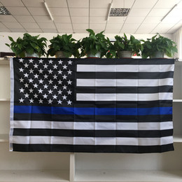 Wholesale Flying Banners - Wholesale Factory Price Thin Blue Line American Flag 3x5ft Polyester Flying Banners with Two Metal Grommets
