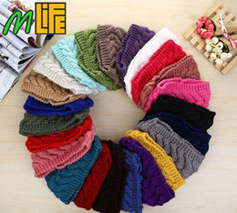 Wholesale Headband Beauty - Winter Beauty Fashion 24 Colors Flower Crochet Knit Knitted Headwrap Headband Ear Warmer Hair Muffs Band Q1