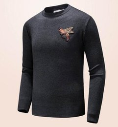 Wholesale Bee Stitched - Top Quality 2017 Autumn Winter Warm Bee Sweater Men Pullover Italian Brand Clothing Casual Top O-Neck Man Solid Sweaters Knitwear