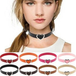 Wholesale Punk Buckle Choker - Brand new Harajuku soft sister PU leather punk gott peach heart buckle collar neck neck WFN223 (with chain) mix order 20 pieces a lot