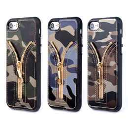 Wholesale Soft Case Zip - OCWAVE Camouflage PU Leather coque case for iphone 7 Luxury metal zipper Zip with card slot TPU silicone soft cover capa funda