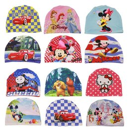 Wholesale Boys Diving - Wholesale- New Hot Unisex Boy Girl Swimming Caps Kids Child Cute Children Cartoon Elastic Diving Children Bathing Hat Anime Pattern