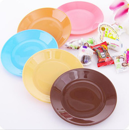 Wholesale Plastic Fruit Dish - hot sale cooking tools colorful food grade plastic pp dinner plates tableware fruit snack dishes flat plate holder free shipping
