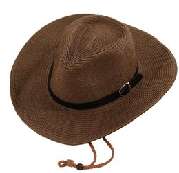 summer garden hats Promo Codes - Straw Braid Men Cowboy Hats with Buckle Western American Mens Hat Lady Beach Hats Solid Khaki