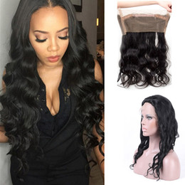 Wholesale Hand Tied Indian Weaving Hair - Peruvian Natural Wave Hand Tied 360 Lace Frontal Closure 100% Human Hair Remy Hair Weaves Natural Hairline Free Shipping Can Be Dyed