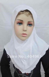 Wholesale Order Small Hats - Wholesale- H267a small girls hijab,muslim hat,popular design,fast delivery,can order one dozen all white