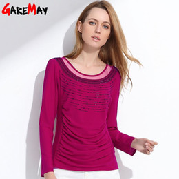 Wholesale Ol Blouse Plus Size - Office Women Blouse New Arrival Long Sleeve Shirts For Women OL Casual Top Plus Size Women Cool Blouse Clothing GAREMAY 0711