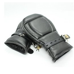 Wholesale Dog Sex Toys Adult Products - Adult Game Locking Goth Padded Mittens Gloves Dog Paw Palm Leather Bondage Restraints Sex Toys For women men Couples Products