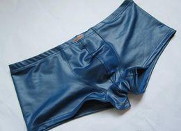 Wholesale Mens Leather Swimwear - free Wholesale - New Latex Bikini Swimwear Mens boxer shorts Underwear Faux Leather Slip shorts