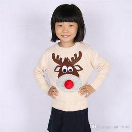 Wholesale Children Christmas Jumper Cotton - Autumn Winter Fashion Kids Clothes Christmas Deer Lemon Sweater Children Long Sleeve Knit Baby Boys Girls Sweaters Toddler Clothing