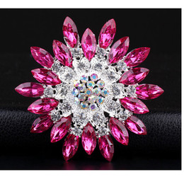 модные аксессуары из бисера Скидка Wholesale-  Rhinestone Bauhinia Lapel Pins Brooches For Women and Men Wedding and party Casual Dress Bridal pins Hijab pins brooches