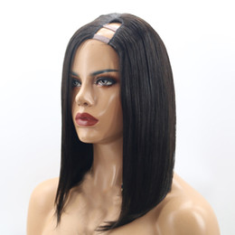 Wholesale Cutting Parts - Straight Bob Short Cut U Part Wigs Human Hair for Black Women Left Part Indian Remy Hair 1x4 Opening Size 8-14 Inches