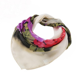 Wholesale Womens Square Scarf - Wholesale- Womens Square Bandana Floral Flower Print Chiffon Thin Scarf Vintage Women Scarves and Foulard #ED