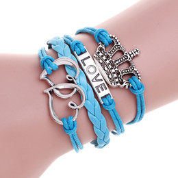 Wholesale Silver Imperial Crown - Briefly Fashion Jewelry Leather Double HEART Multilayer Blue Bracelet Women imperial crown Wholesales Imitation Bracelet For Women