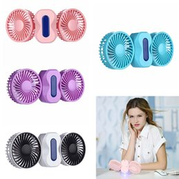Wholesale Mini Geared Motors - 2 Motors Summer Couples Air Conditioner Fan Rechargeable Battery Fold Air Conditioning Ventilador Fans Portable Hand Mini USB Fan