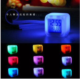 Wholesale Child Temperature Thermometer - 100pcs lot by dhl or fedex Multi-function Cartoon Child Snooze 7 Color Glowing Change Digital Alarm Clock LED Thermometer
