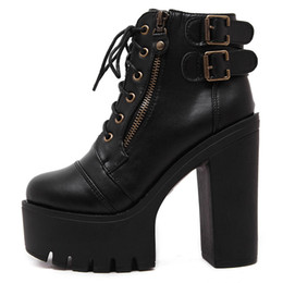 Wholesale boot lace zippers - Hot Sale Russian Shoes Black Platform Martin Boots Women Zipper Spring High Heels Shoes Lace Up Ankle Boots Size 35-39