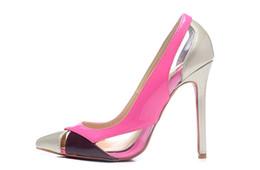 Wholesale Pink Colorblock Dress - New 2017 Women Colorblock Patent Leather Hollow Out Women High Heels,Brand Design Ladies Pumps 12cm Heel Dress Shoes 35-42 Drop Shipping