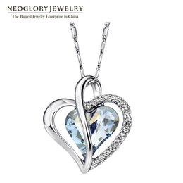 Wholesale Neoglory Necklace - Wholesale-Neoglory Austria Crystal Rhinestone Love Heart Pendant Necklaces for Women Designer Fashion Jewelry 2016 JS4 He1 He-b