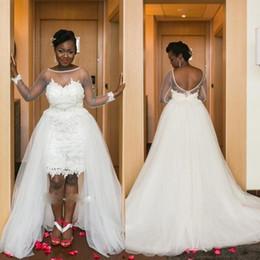 Wholesale Ivory Lace Girls Summer Dresses - Latest Long Sleeve Hi-low Black Girl Plus Size Wedding Dresses Chapel Train Bridal Wedding Gowns Hochzeitskleid Robe De Mariee