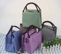 Wholesale Tote Lunch Bags For Women - Waterproof Canvas Stripe Lunch Bag High Quality Fabric Lunch Tote For Women Kids Stripe Lunch Bag 100pcs