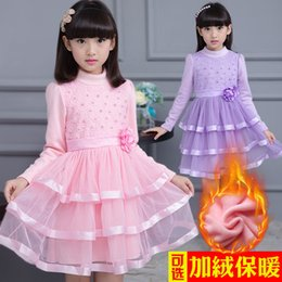 Wholesale Children S Winter Skirts - 2016 new Children 's clothing girls with velvet warm long - sleeved cotton autumn and winter princess skirt yarn cake skirt