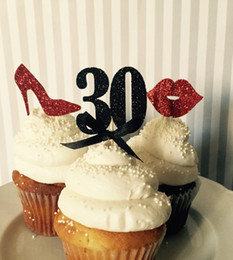 Wholesale Custom Cupcake Decorations - CUSTOM number glitter lips shoes 30th birthday cupcake Toppers baby bridal shower wedding party cake decorations food picks