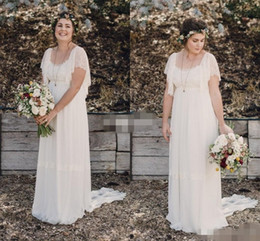 Wholesale Cheap Maternity Short Wedding Dresses - 2018 Bohemian Wedding Dresses Plus Size Maternity Lace Short Sleeves Chiffon Cheap Scoop Open Back Country Spring Beach Wedding Bridal Gowns