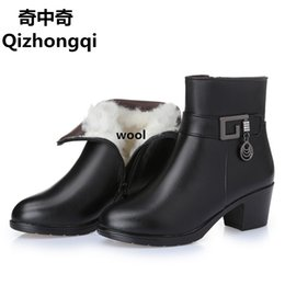 Wholesale Zip Line Heels - 2017 new winter thick wool lined genuine Leather women snow boots, large size 35-43 # mother warm boots, Women's boots free shipping