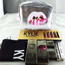 Wholesale Silver Pillow Box - Hot Sale Kylie Gift Cosmetics Bags Holiday Golden Box Makeup Bag Birthday Collection Bundle Bronze Silver Kyshadow Kylie Jenner Lip Kit DHL