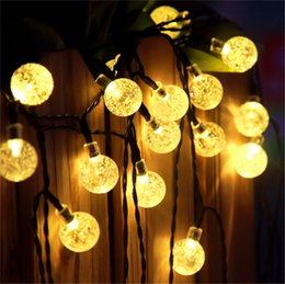 Wholesale Crystal Strip Wholesale - High Quality Solar Powered Led Outdoor String Lights 6M 30LEDs Crystal Ball Globe Fairy Strip Lights for Outside Garden Party Christmas