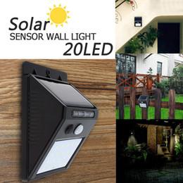 Wholesale Outdoor Garden Path Light - 20 LED Solar Power PIR Motion Sensor Wall Light Outdoor Waterproof Energy Saving Street Yard Path Home Garden Security Lamp LEG_20G