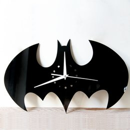 Wholesale Sticker Wall Plastic - 2017 New Creative DIY Wall Clock Watch Batman Acrylic Wall Clocks Home Decoration Craft Mirror Wall Stickers Living Room Free Shipping