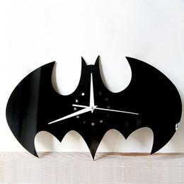 Wholesale Acrylic Room - 2017 New Creative DIY Wall Clock Watch Batman Acrylic Wall Clocks Home Decoration Craft Mirror Wall Stickers Living Room Free Shipping