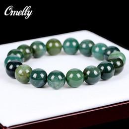 Wholesale Brazil Agate - Brazil Aquatic Agate Stone,Natural Gemstone Bracelet Fashion Semi-Precious Green Gemstone Beads Bangles Women Party Jewelry Christmas Gift