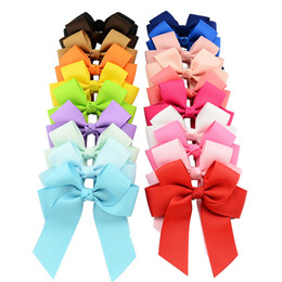 Wholesale Hair Bows Wholesale China - Big Discount 20 Colors 20pcs lot High Quality Grosgrain Ribbon Bows With Clip Boutique Bow Hair Accessories Girl Pinwheel Cheer Bow YL617