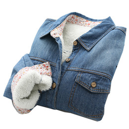 Wholesale Denim Shirt Women - Autumn Winter Denim Blouses for women with velvet thicken Loose Long sleeve Student style Shirts Blue colors
